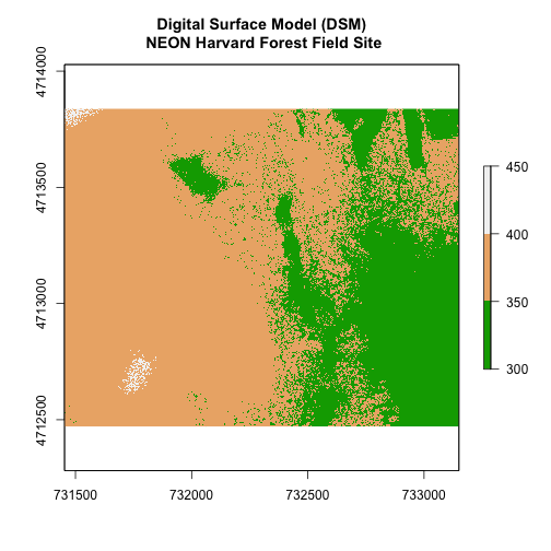 Digital surface model showing the elevation of NEON's site Harvard Forest with three breaks