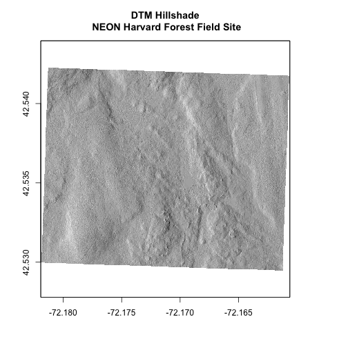 Digital terrain model overlaying the hillshade raster showing the 3D ground surface of NEON's site Harvard Forest