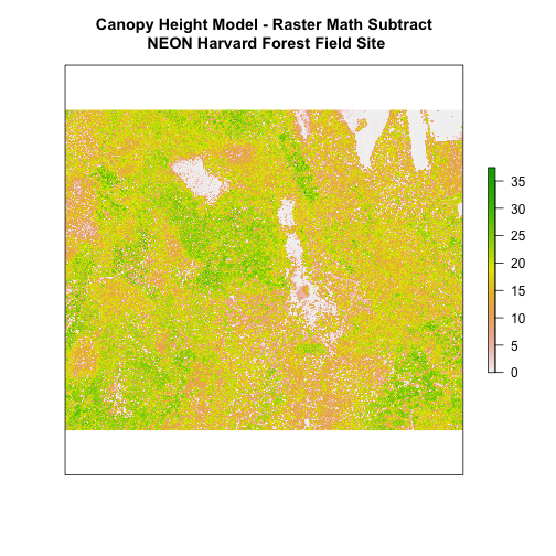 Canopy height model showing the height of the trees of NEON's site Harvard Forest