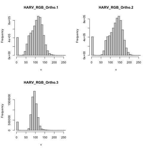 Histograms of each RGB band showing the distribution of values for NEON's site Harvard Forest