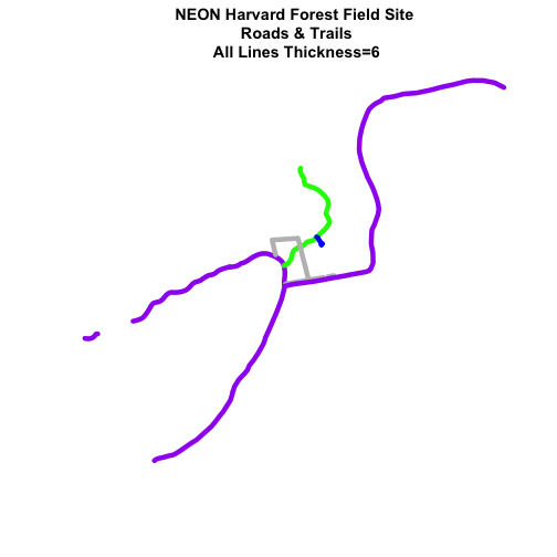 Roads and trails at NEON Harvard Forest Field Site with color varied by attribute factor value and uniformly thick line width.