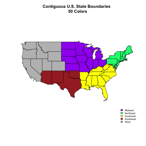 Contiguous U.S. State Boundaries with color varied by region and with a modified legend.