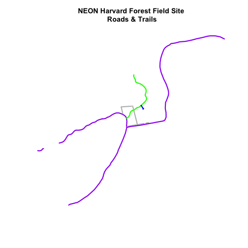 Roads and trails at NEON Harvard Forest Field Site with color varied by attribute factor level.