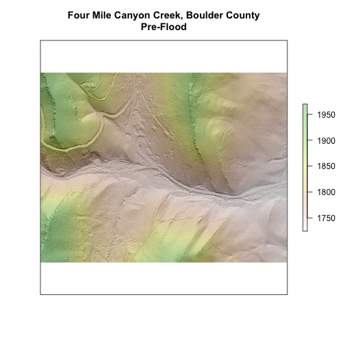 Raster Plot of the cropped section of Four Mile Creek, Boulder County.