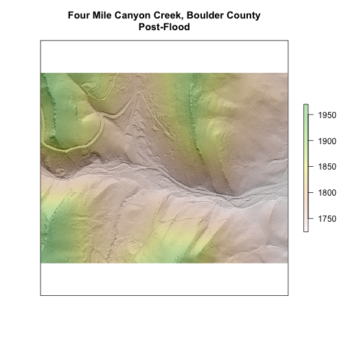 Raster Plot of the cropped section of Four Mile Creek, Boulder County, Post-Flood.