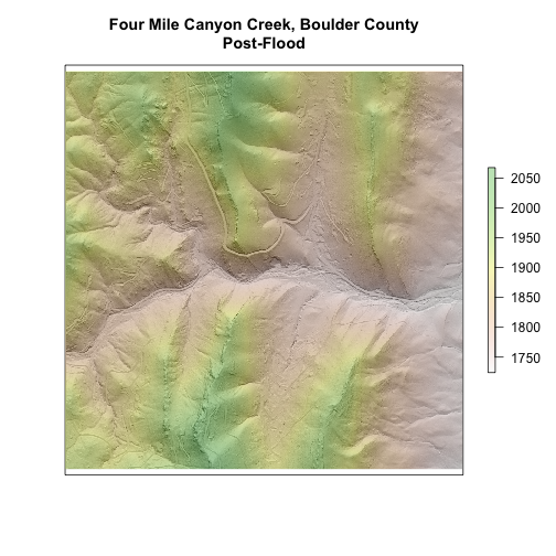 Raster Plot of Four Mile Creek, Boulder County, Post-Flood. This figure combines the DTM and hillshade raster objects into one plot.