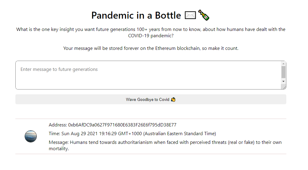 Pandemic in a Bottle: Ethereum, Web 3.0 Solidity App - 瓶内流行病:<a href=
