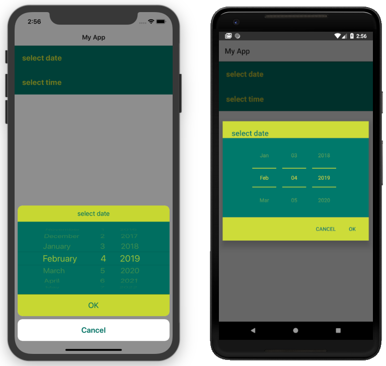 DatePickerField with CSS applied on iOS (left) and Android (right)