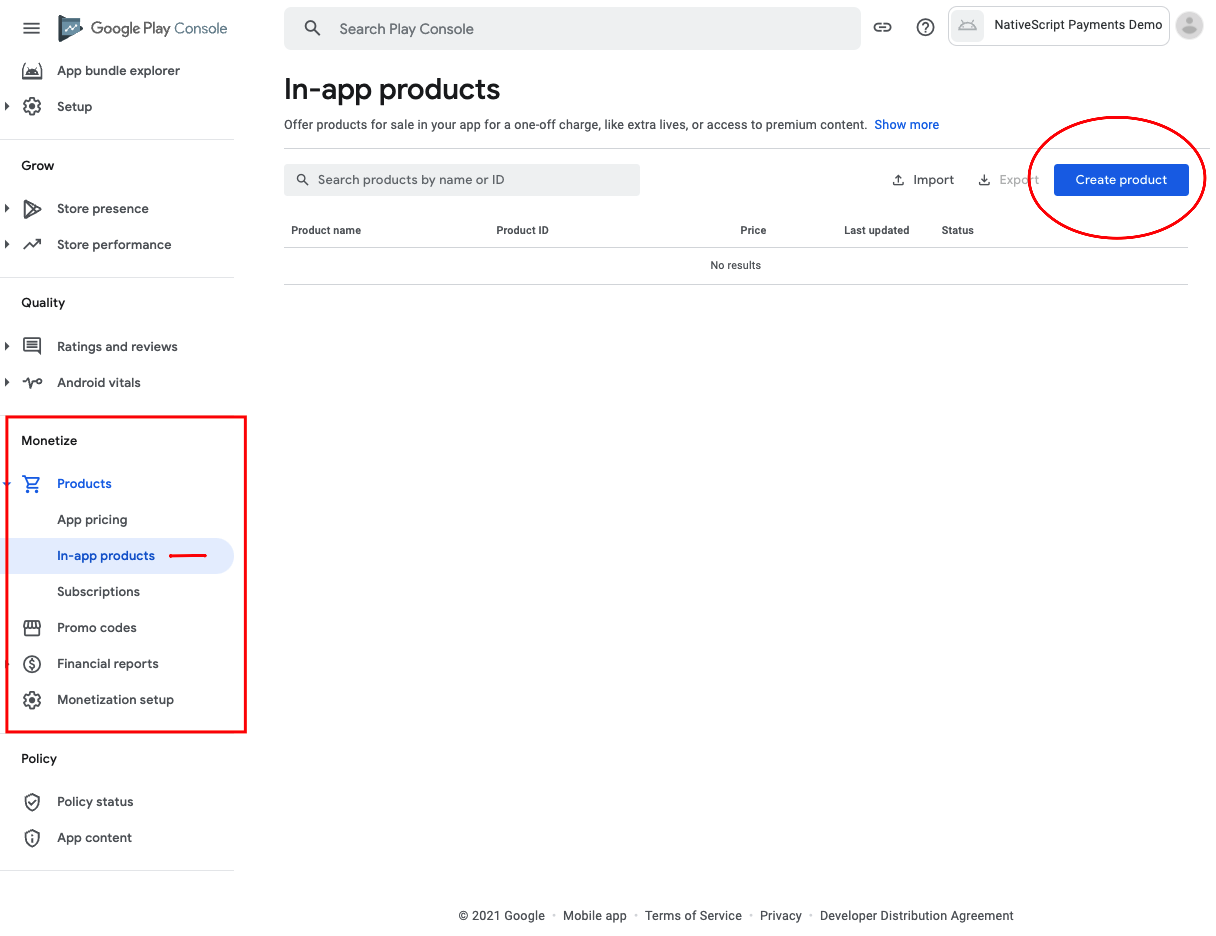 Create new in app products