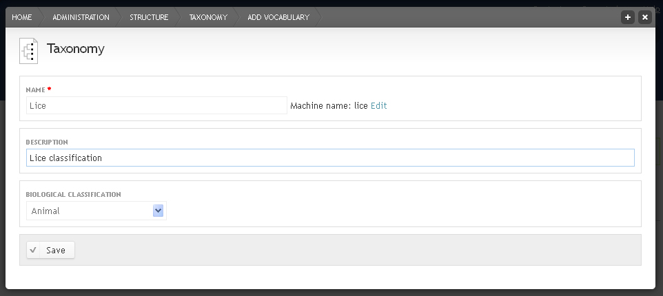 Add vocabulary form showing name, description and biological classification fields