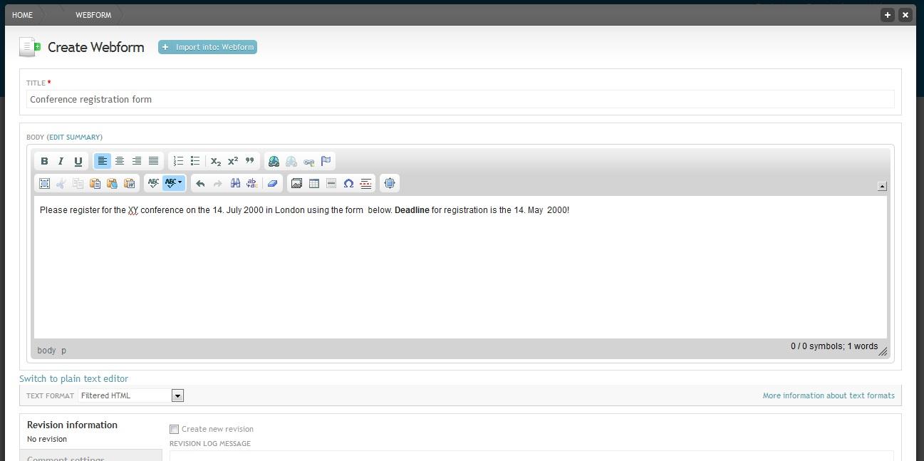Create a webform