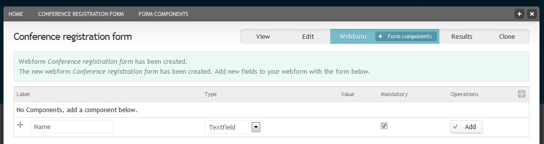 Add a webform component