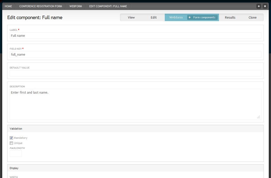 Webform component settings