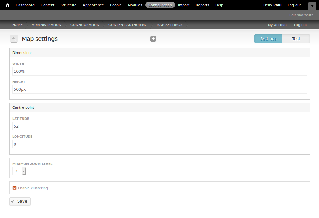 Screenshot of map settings form
