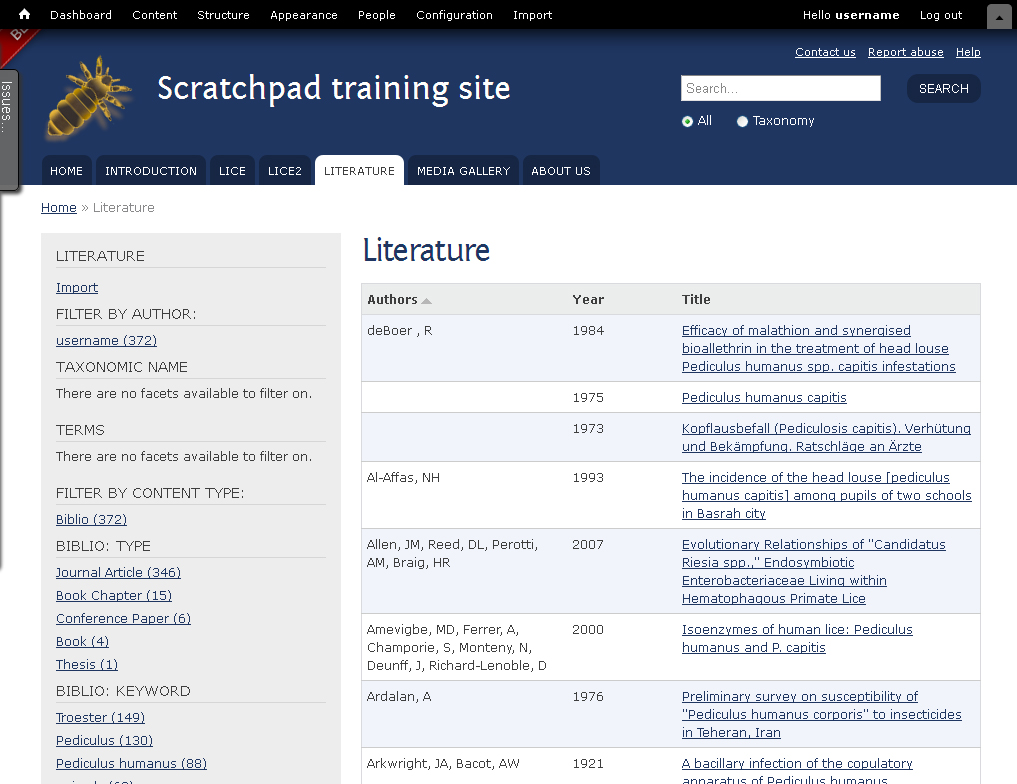 Literature page with faceted browsing