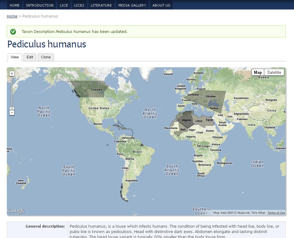 Taxon description with distribution map