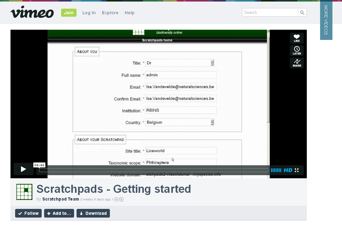 A screenshot on a Scratchpad training video on Vimeo.|A screenshot on a Scratchpad training video on Vimeo.