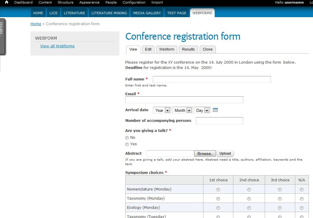 Webform for a conference registration