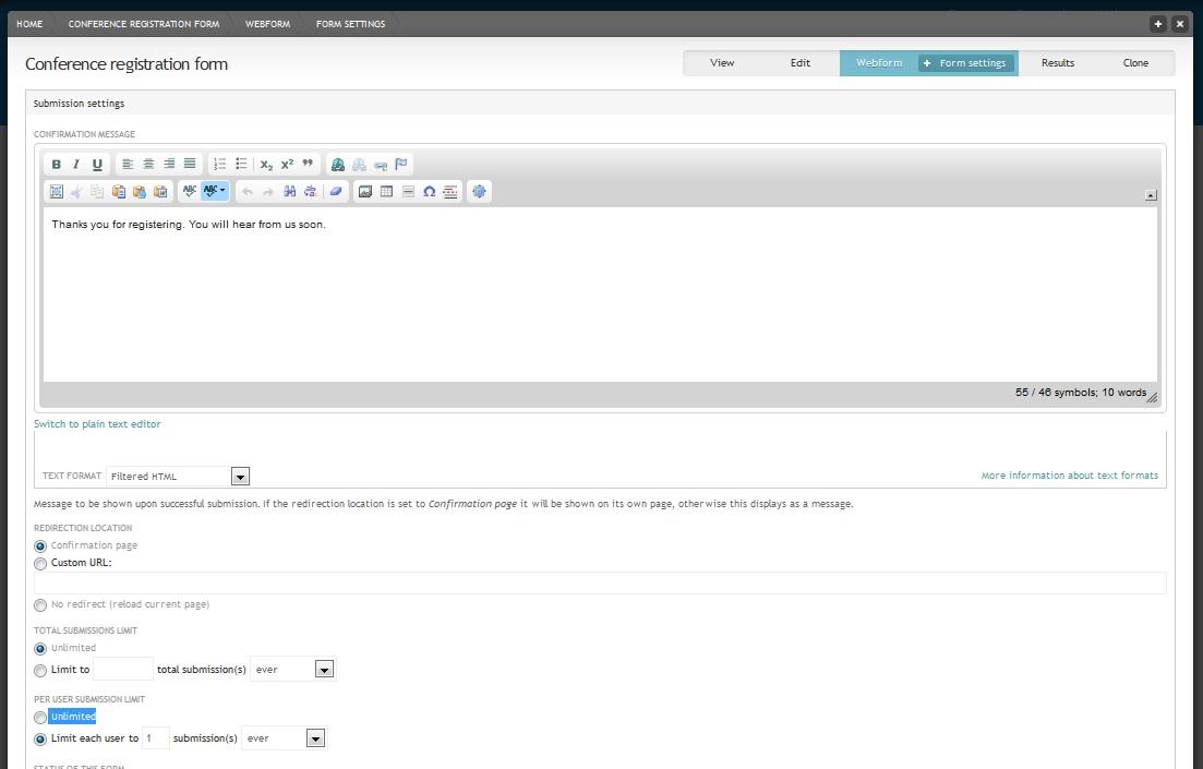 Webform form settings page
