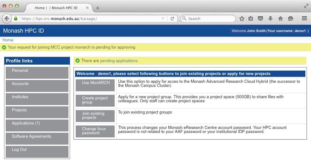Screen shot of HPC ID system showing a pending application