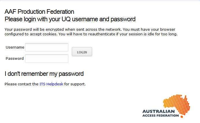 UQ log in screen