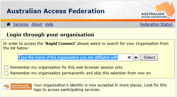 AAF's Log in through your organisation service