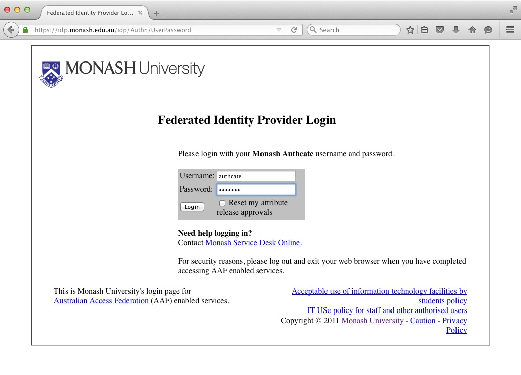 Screen shot of the Monash AAF Identity Provider