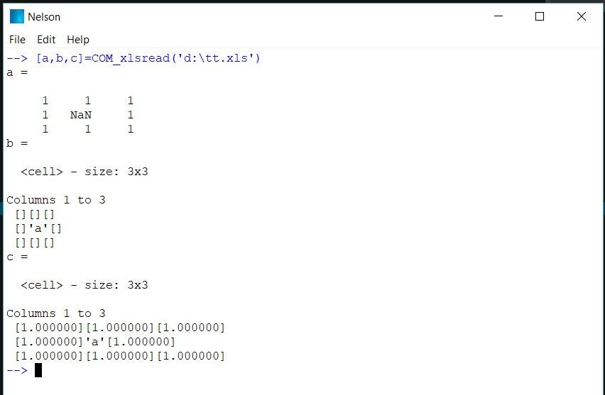 COM_xlsread example