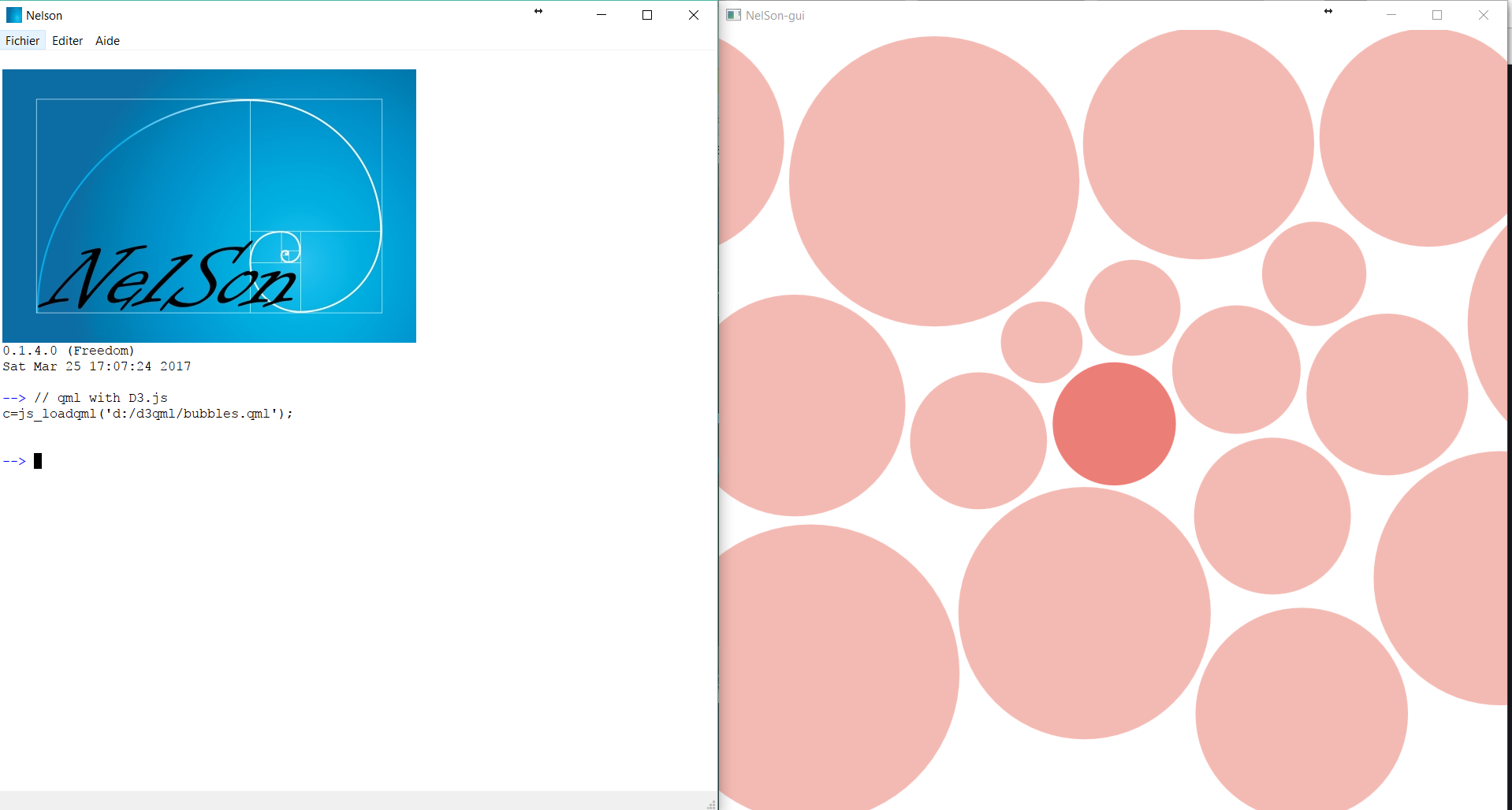 Nelson interaction with QML and D3.js