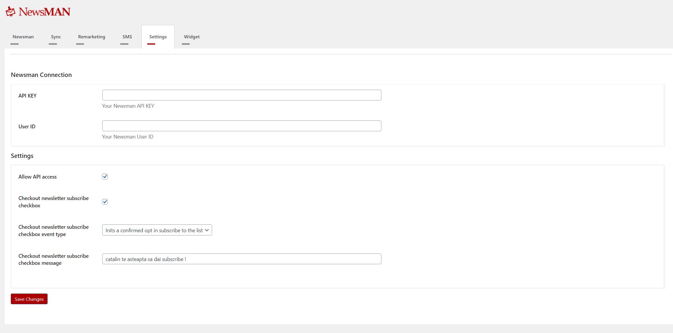 newsletter plugin settings