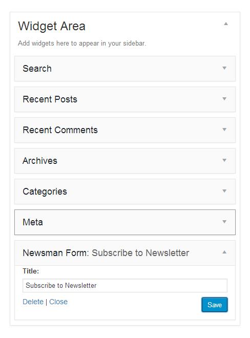 newsletter signup widget