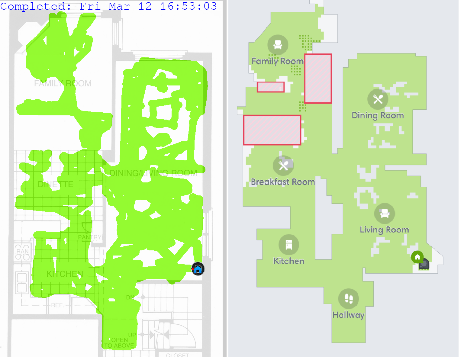 iRobot Roomba cleaning map comparison
