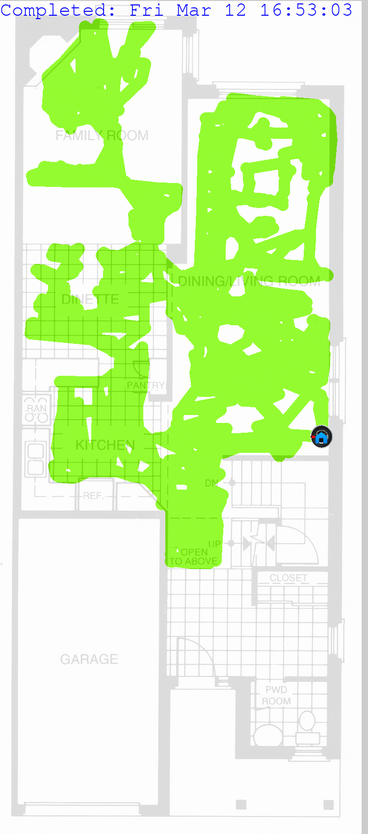 iRobot Roomba 980 cleaning map using python980 lib