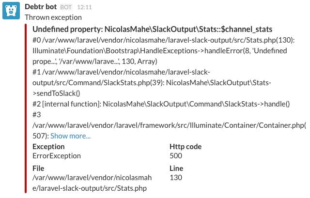 Exception on Slack