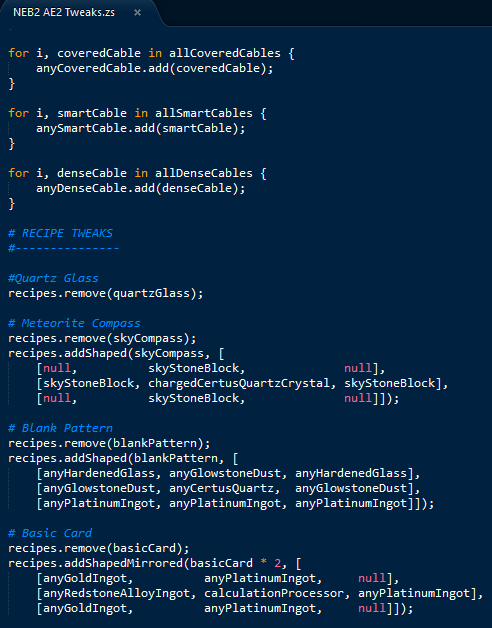 MineTweaker ZenScript syntax highlighting for Sublime Text