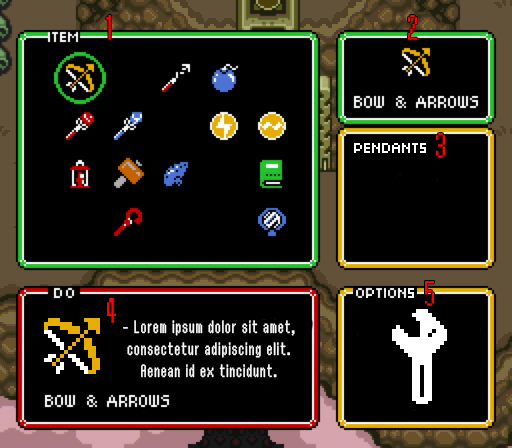 Ui document nontendoslzelda a link to the past tribute wiki github items box it shows all the tems you have and the green circled one is the one your selecting aloadofball Gallery