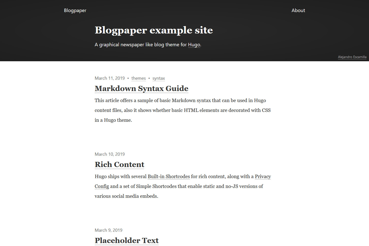 Example of a homepage after install