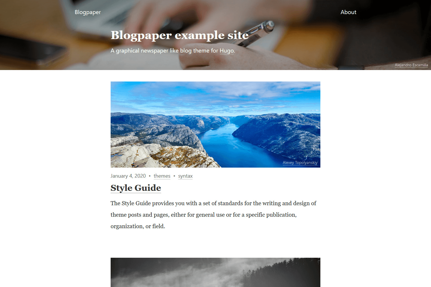 Example of a homepage