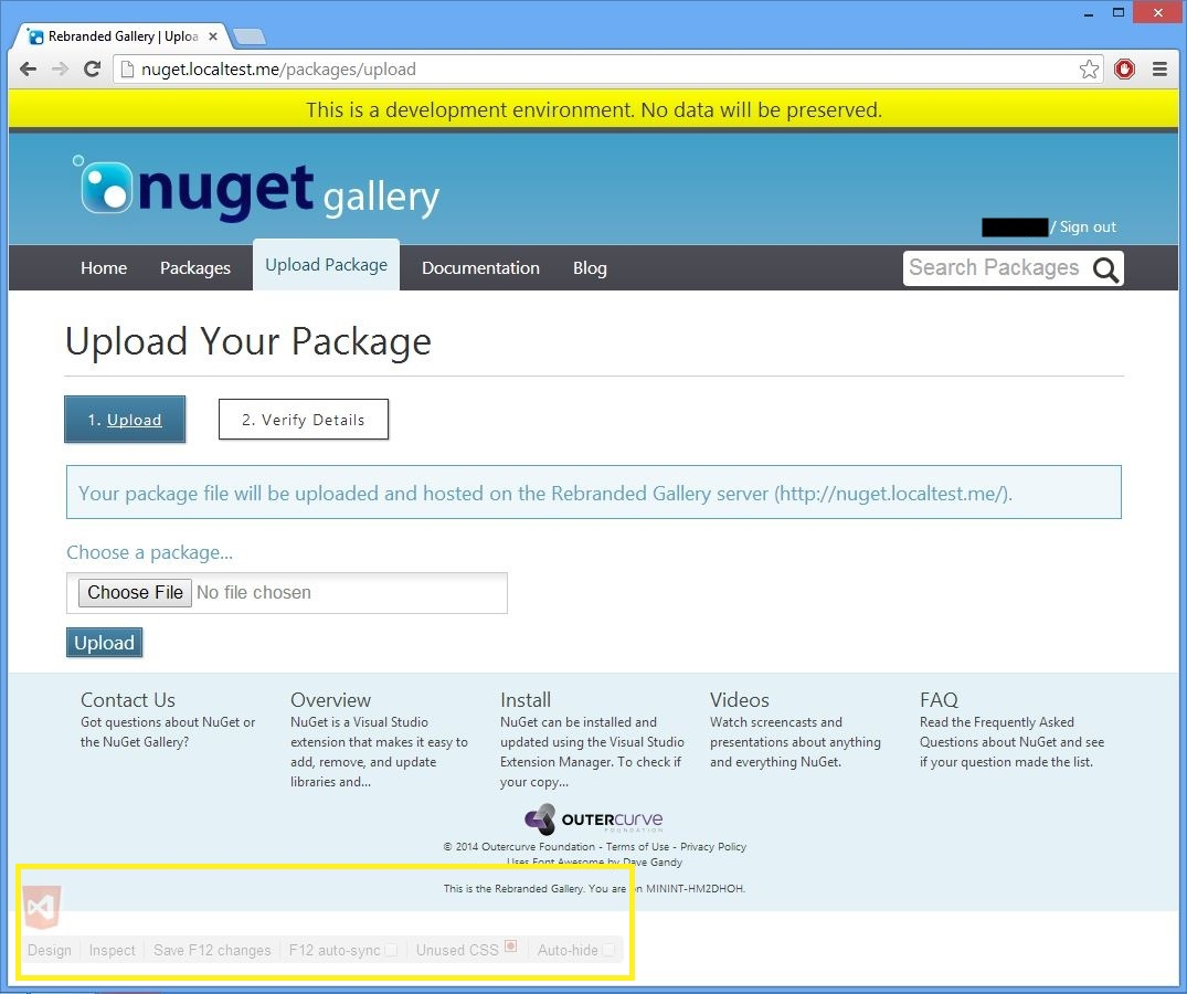 Screenshot of the browser on the nuget.localtest.me/packages/manage/upload page