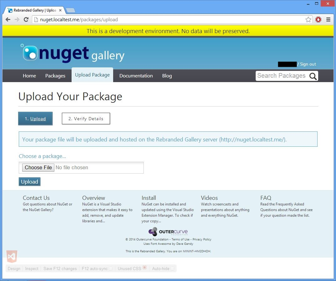 screenshot of http://nuget.localtest.me/packages/upload