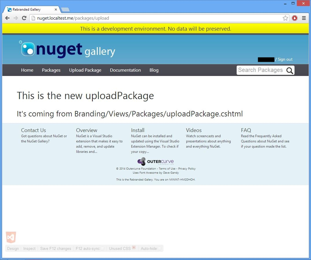screenshot of the browser displaying the new http://nuget.localtest.me/packages/manage/upload page, with the re-branding override