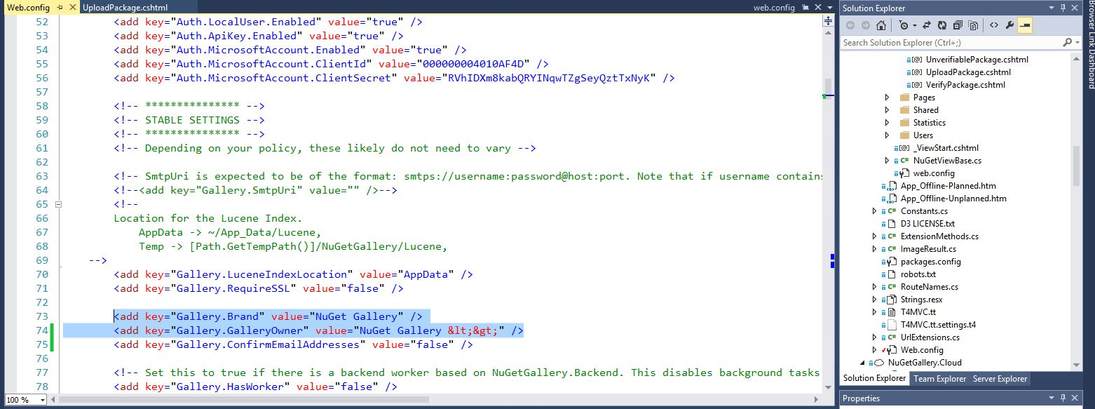 screenshot of the web.config file (with line numbers) with the Brand and GalleryOwner attributes highlighted