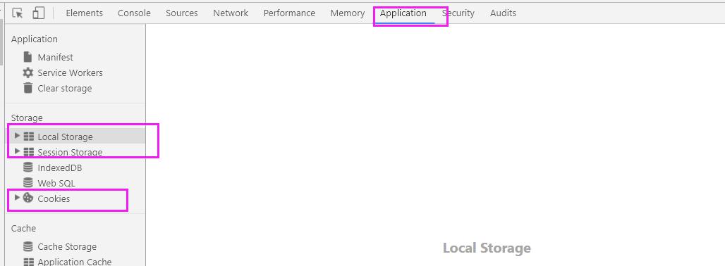 Cookie、localStorage、sessionStorage数据存放处