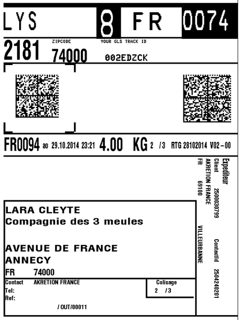 GLS transport label towards France generated with Odoo ERP
