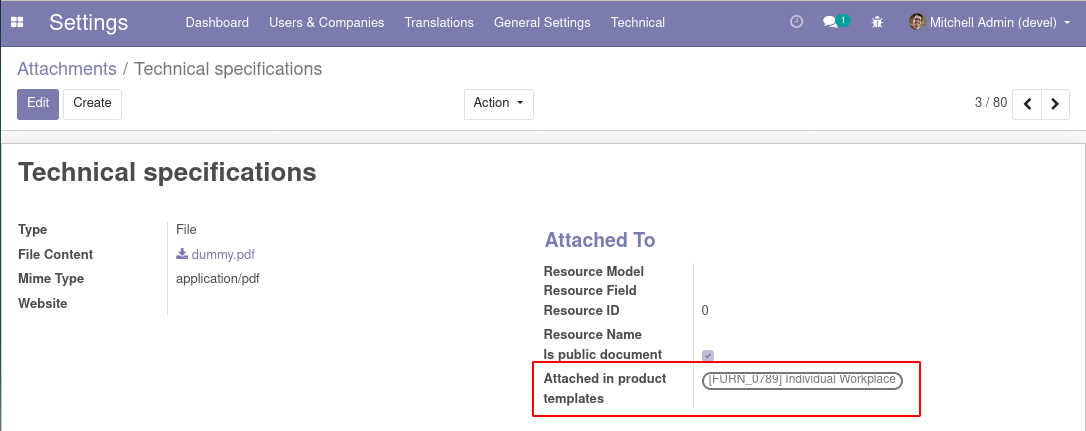 Attachments view in backend