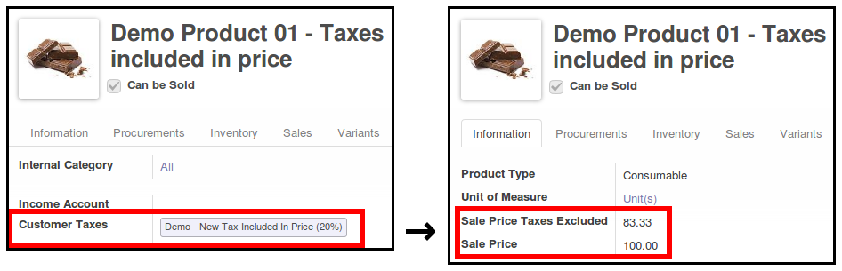 A product with sale price and sale price without taxes