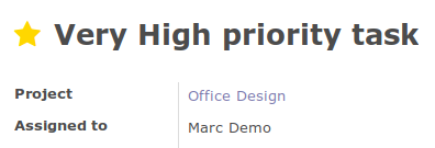 On form, priority widget shows one star