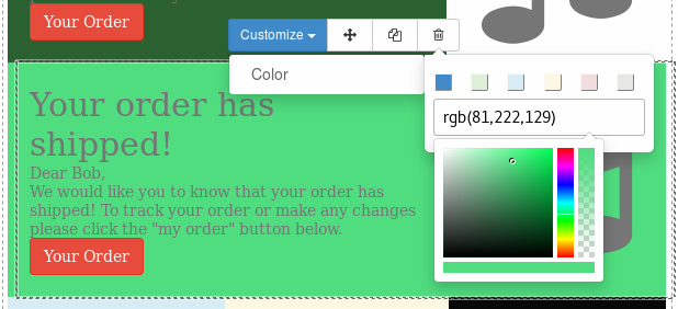 Screenshot of color picker in mass mailing editor
