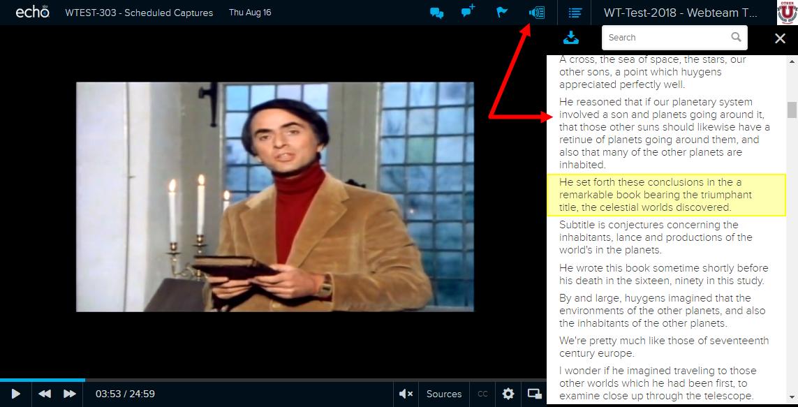 Screenshot of LCS Transcript Panel