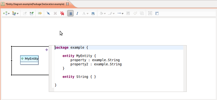 Screenshot of diagram with embedded text editor